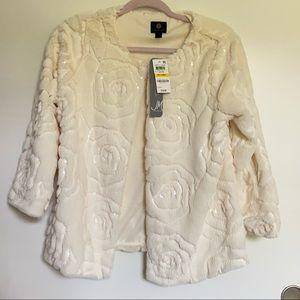 JM Collection Faux Fur Floral Sequin Jacket PM